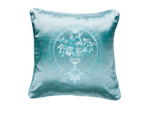 Декоративная подушка блестящая мятно-зеленая с узором