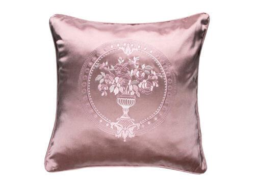 Декоративная подушка блестящая розовая с узором