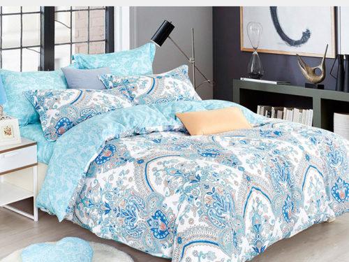 Постельное белье Asabella светло голубое с рисунками хлопок