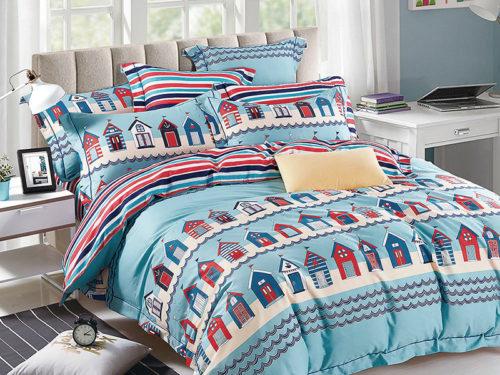 Постельное белье детское Asabella голубое с домиками хлопок