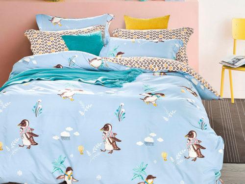 Постельное белье Asabella голубое с пингвинами хлопок