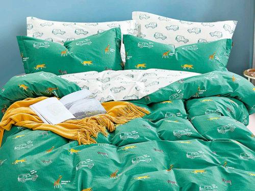 Постельное белье Asabella зеленое с машинками хлопок