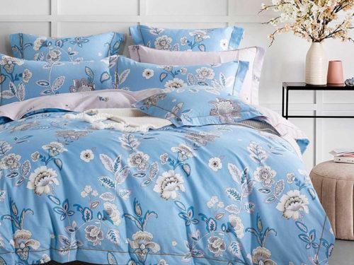 Постельное белье Asabella голубое с цветочками хлопок