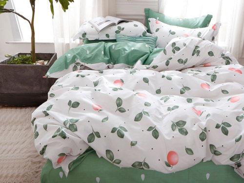 Постельное белье Asabella бело зеленое с рисунками хлопок