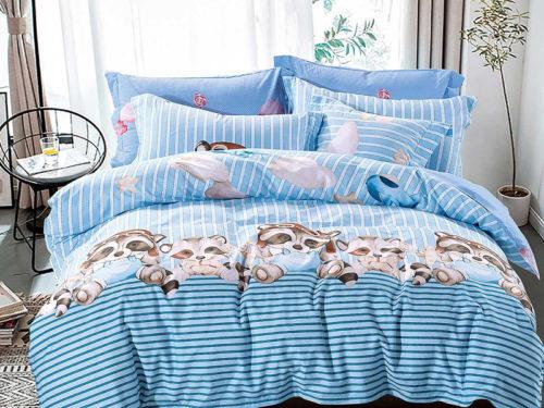 Постельное белье Asabella голубое с рисунками хлопок