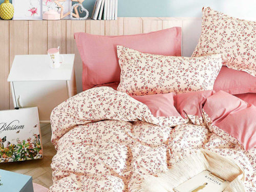 Постельное белье Asabella розово ванильное с цветами хлопок