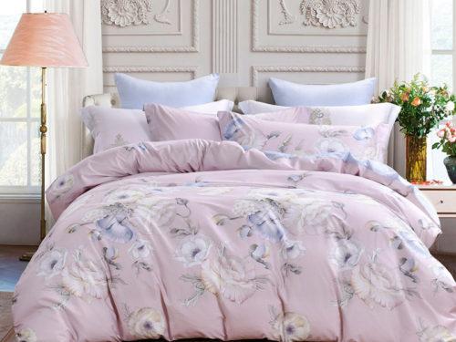 Постельное белье Asabella розовое с цветами хлопок