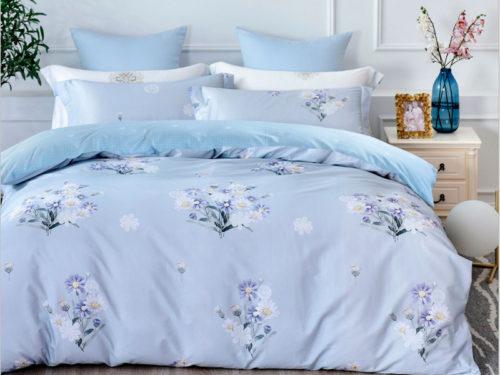 Постельное белье Asabella голубое с цветами хлопок