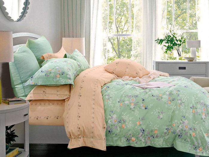 Постельное белье Asabella зелено оранжевое с рисунками хлопок