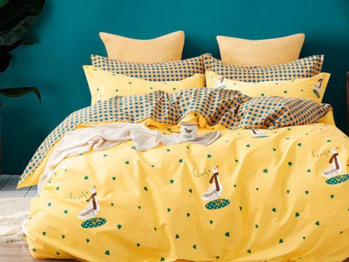 Постельное белье Asabella желтое с рисунками хлопок
