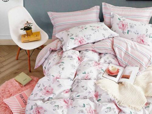 Постельное белье Asabella розовое с рисунками хлопок