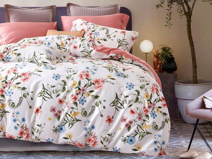 Постельное белье Asabella бело-розовое с рисунками хлопок