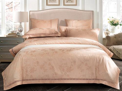 Постельное белье Asabella бледно розовое с узором хлопок