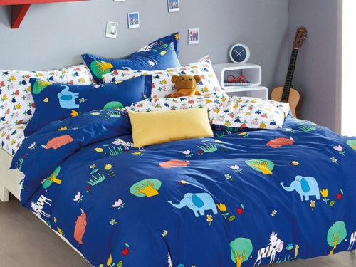 Постельное белье Asabella синее с рисунками хлопок
