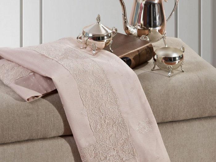 Постельное белье Asabella розовое с узором хлопок